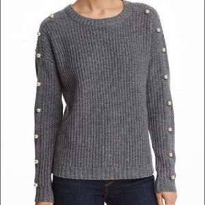 Aqua 100% Cashmere Gray Sweater with Pearls
